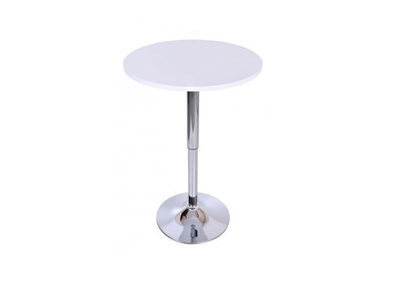 Samba - table haute bar/cuisine moderne en mdf avec pied chromé hauteur réglable - table rond mange debout bistro cafétéria - blanc