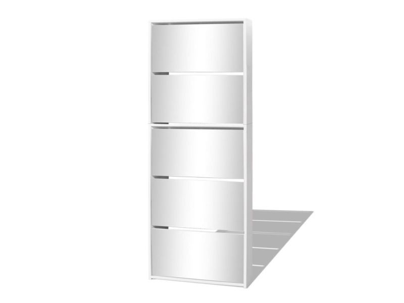 Vidaxl meuble à chaussures 5 étagères et miroir 63x17x169,5 cm blanc 273938