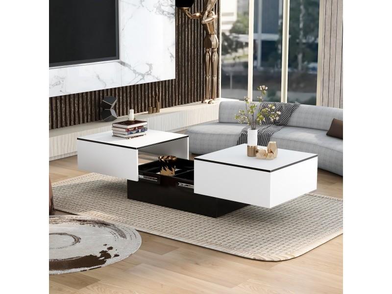 Table basse rectangulaire blanc brillant, plateau coulissant et coffre de rangement