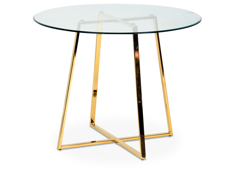 Table repas art déco ronde en verre pieds métal doré charles 012567