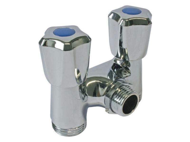 Robinetterie de salle de bain robinet double - pour machine a laver - arrivée ø 1/2 - sortie ø 3/4