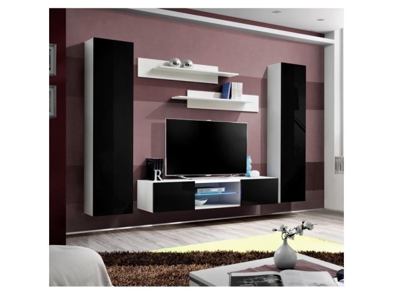 Ensemble meuble tv mural - fly o1 - 260 x 40 x 190 cm - noir et blanc