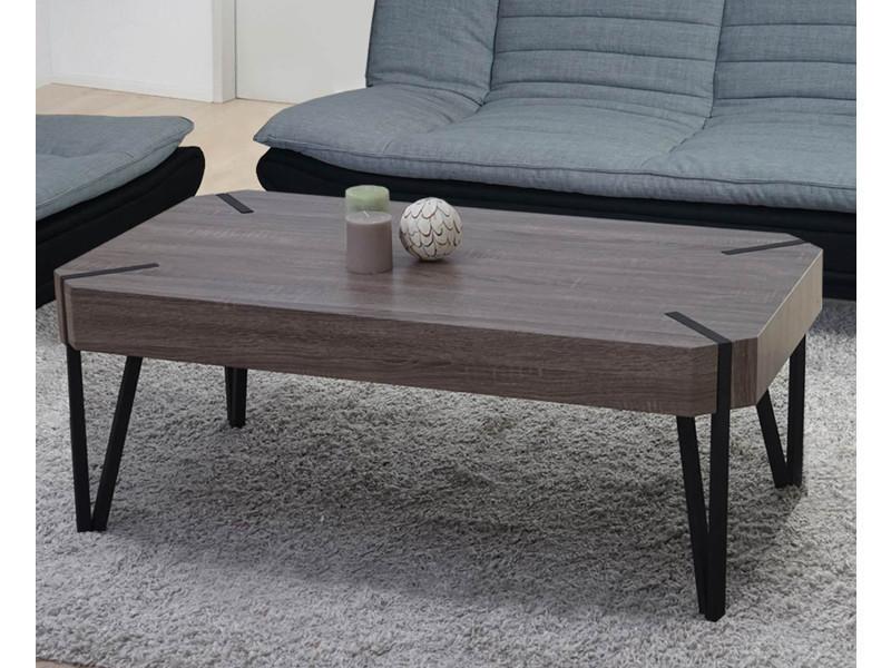 Table basse coloris chêne foncé avec pieds en métal noir - dim : 43 x 110 x 60 cm -pegane-