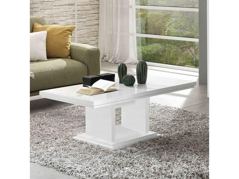Table basse rectangulaire laqué blanc - potiri - l 110 x l 60 x h 45 cm