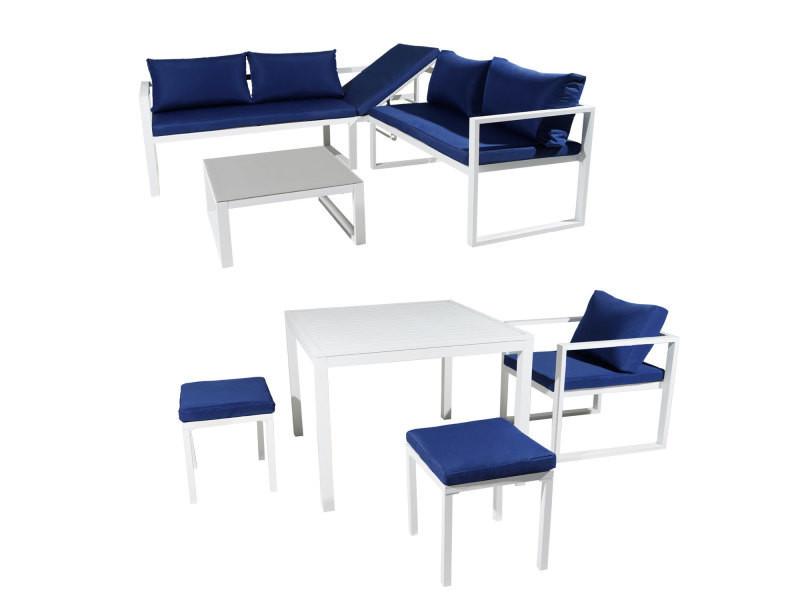Salon de jardin modulable ibiza en tissu bleu 7 places ...