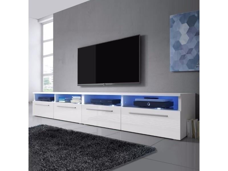 Meuble Tv Meuble Salon Siena Double 2 X 100 Cm Blanc Mat Blanc Brillant Avec Led Bleue Style Contemporain Selsey France Vente De Meuble Tv Conforama