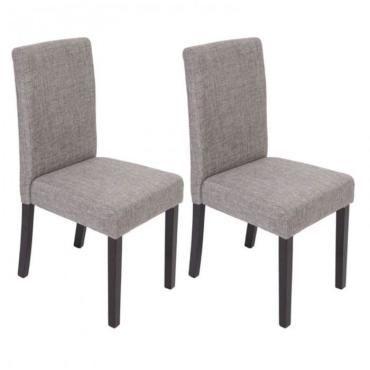 Lot de 2 chaises de salle à manger en tissu gris pieds