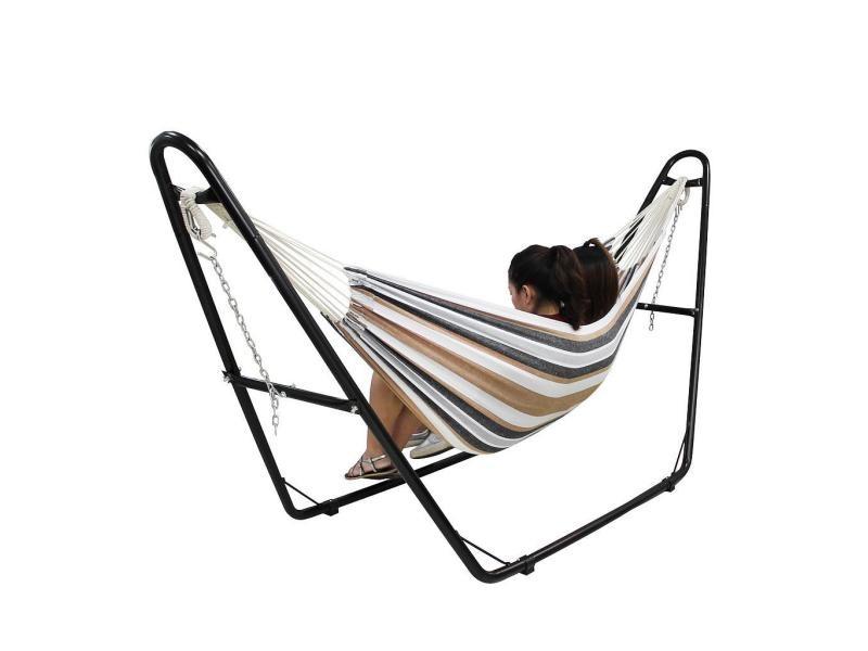 Hamac, lit suspendu, marron, avec support type-h, brésilien, coton, capacité: pour 2 personnes 3700778713771