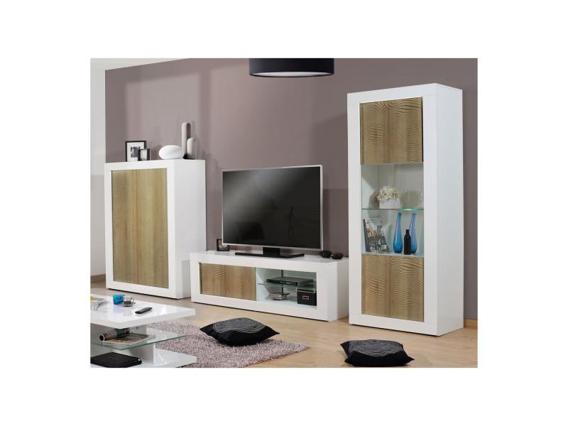 Composition meuble tv blanc/chêne clair à leds - marks - l 370 x l 45 x h 190 - neuf