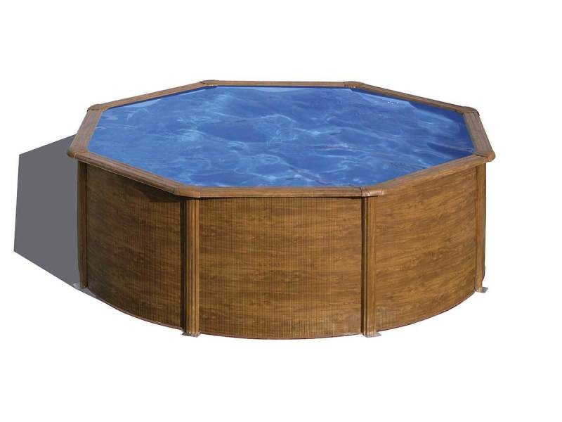 kit piscine hors sol sicilia acier aspect bois ronde 350 x h120 cm vente de gre pool conforama. Black Bedroom Furniture Sets. Home Design Ideas