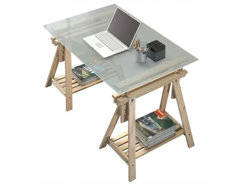 Bureau tréteaux inclinable avec plateau verre givré vente de