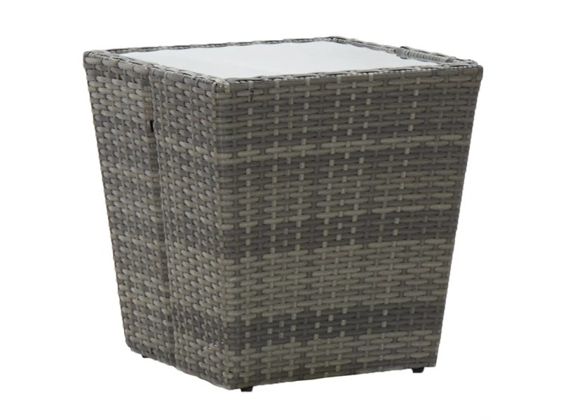 Esthetique mobilier de jardin serie thimphou table à thé gris 41,5x41,5x43 cm résine tressée et verre trempé