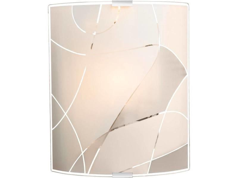 Applique murale paranja blanche en métal et verre satiné conforama