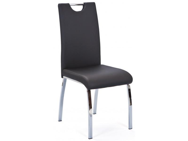 Lot de 2 chaises de table à manger noir en cuir, 44 x 54 x 102 cm -pegane-