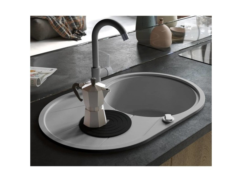 Contemporain éviers et lavabos reference athènes évier de cuisine en granit bac unique ovale gris