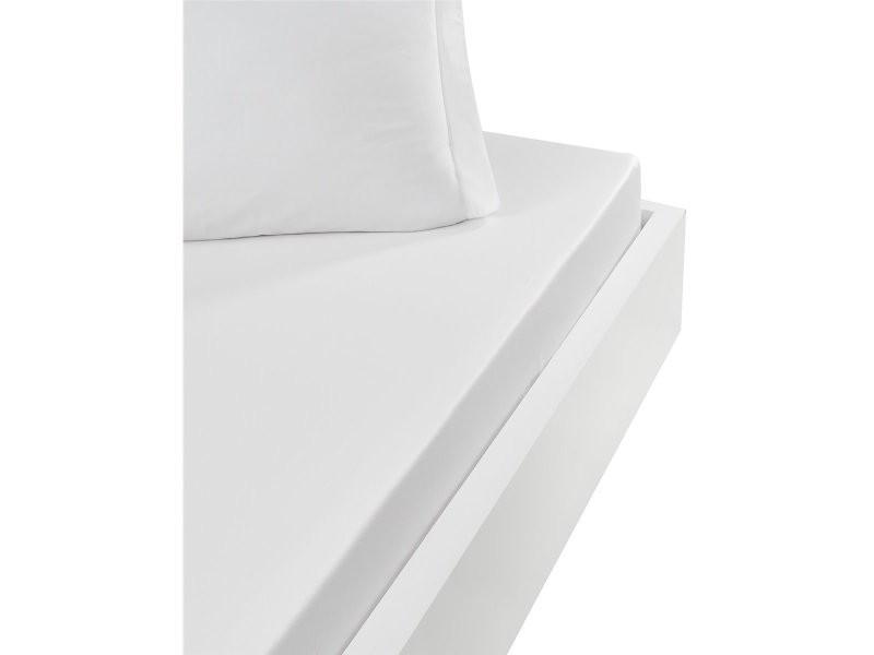 Drap housse 57 fils - grand bonnet 30cm - 100% coton doux et résistant studio - blanc - 180x200
