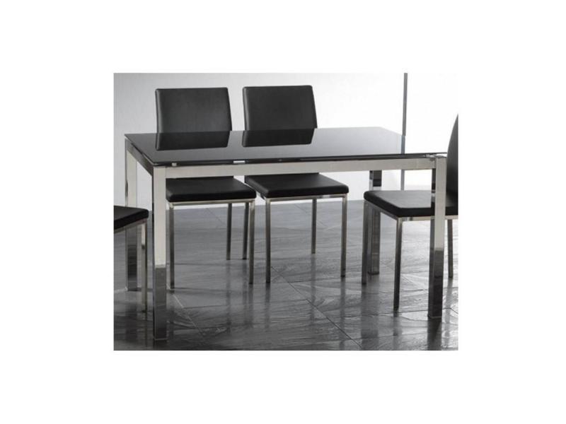 Table repas extensible majestic 130 x 80 cm en verre noir et acier 20100836716