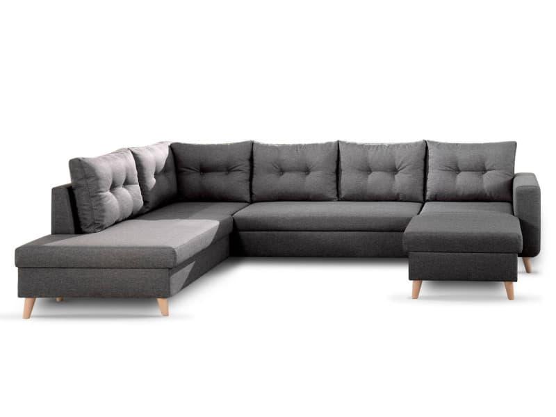 Nordic - canapé scandinave d'angle gauche panoramique convertible en tissu - 299x86x188cm couleur - gris foncé