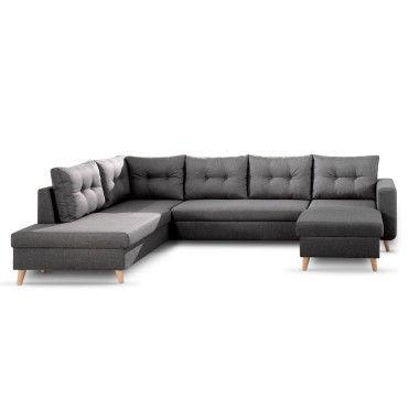 nordic canap scandinave d 39 angle gauche panoramique convertible en tissu 299x86x188cm. Black Bedroom Furniture Sets. Home Design Ideas