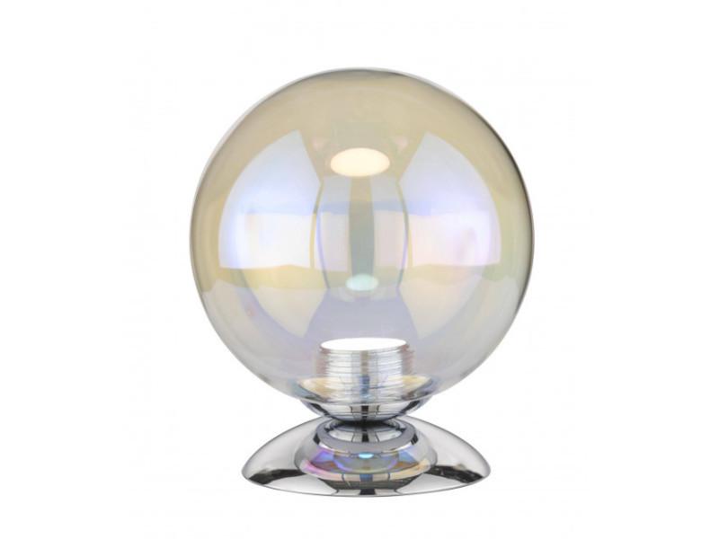 Lampe de table mia chrome 1 ampoule led hauteur 17 cm