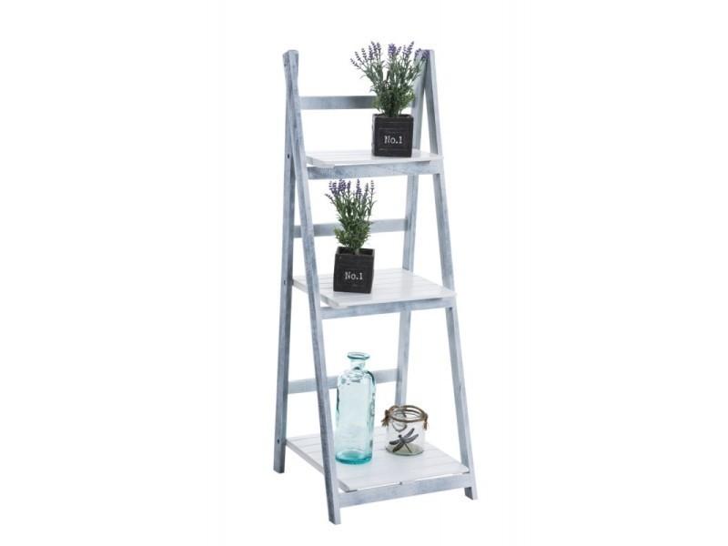 Beau Echelle étagère Plante Décoration Vintage En Bois Gris/blanc Vieilli 3  Niveaux Eta10008