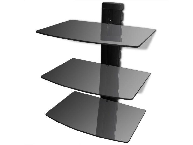 Meuble télé tv télévision design pratique étagère murale noire à 3 tablettes en verre pour dvd helloshop26 2502299