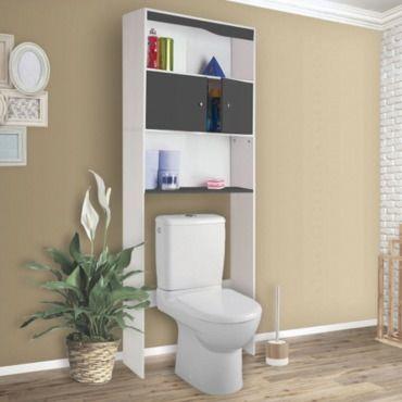 meuble tagre dessus wc bois coloris gris vente de id market conforama
