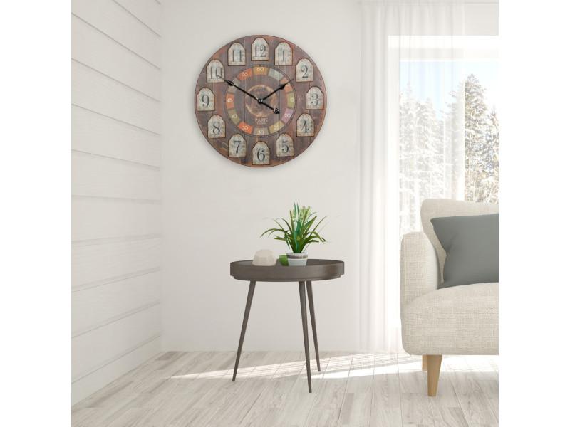 horloge murale 60 cm design vintage en mdf coloris brun collection c rosmari p 35677 co vente. Black Bedroom Furniture Sets. Home Design Ideas