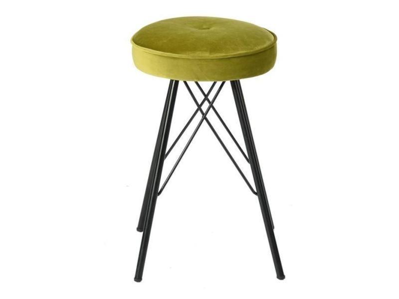 Tabouret de bar eketahuna lot de 2 tabourets de salle a manger en métal - revetement velours vert anis - contemporain - l 30 x p 30 cm