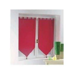 Une paire de rideau voilage passants pompon 60 x 90 cm voiline rouge