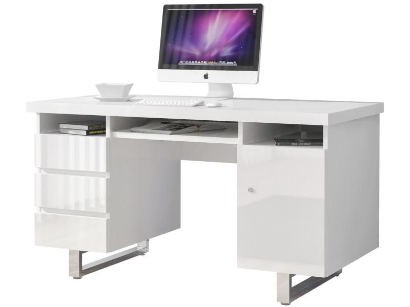 Bureau design avec 3 tiroirs et 1 porte blanc laqué en mdf avec ...