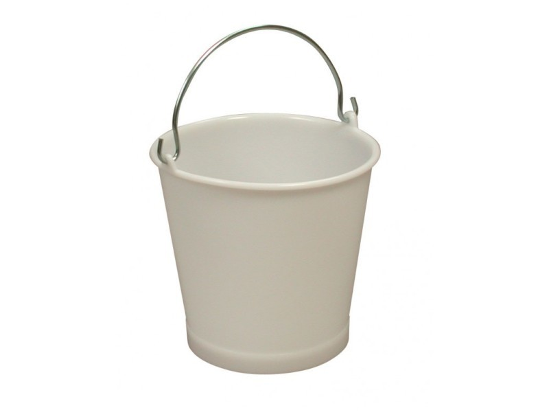 Seau 10 litres blanc anse inox - gilac