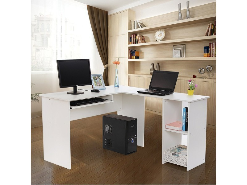 superbe bureau informatique d 39 angle blanc neuf sglcd810w. Black Bedroom Furniture Sets. Home Design Ideas