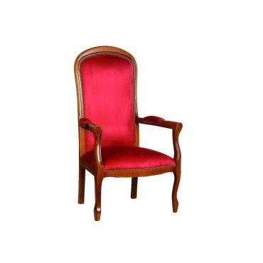 fauteuil voltaire merisier et microfibre bordeaux 20100841723 vente de tous les fauteuils. Black Bedroom Furniture Sets. Home Design Ideas