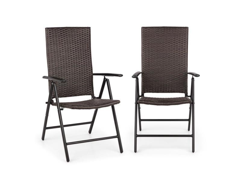 Blumfeldt estoril lot de 2 chaise de jardin pliantes - dossier réglable - alu & polyrotin - noir