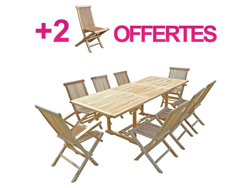 Ensemble salon de jardin en teck amara 6+2 chaises 2 ...