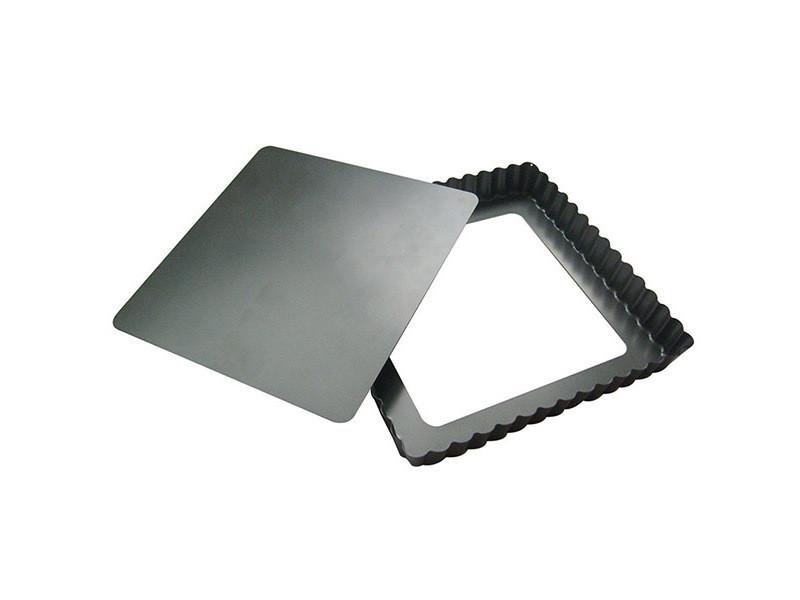 Moule à tarte carré 23 cm en acier fond amovible