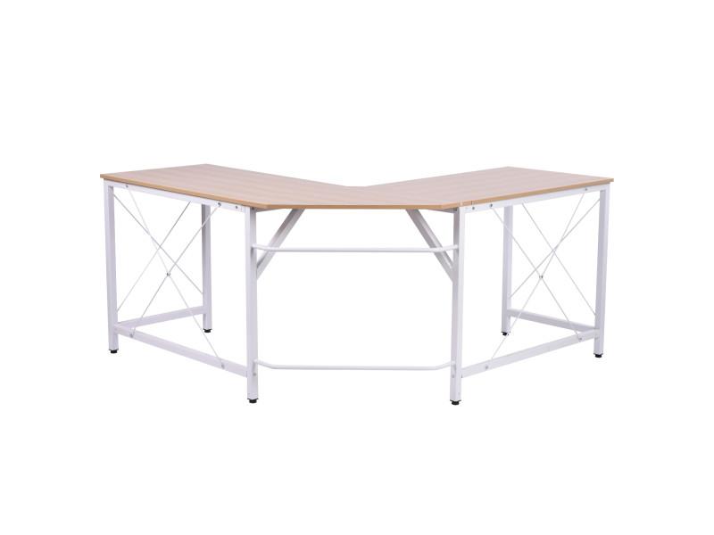 Bureau d'angle bureau informatique design moderne métal mdf imitation bois chêne et blanc