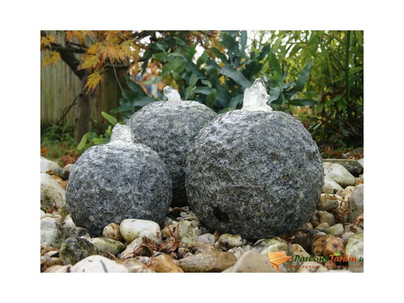 Fontaine de jardin en pierre grise aquaarte kozani led - Vente de ...
