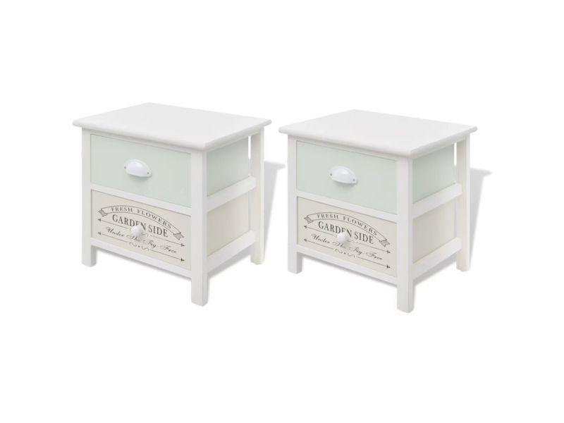 Vidaxl table de chevet en style français 2 pcs bois 242875