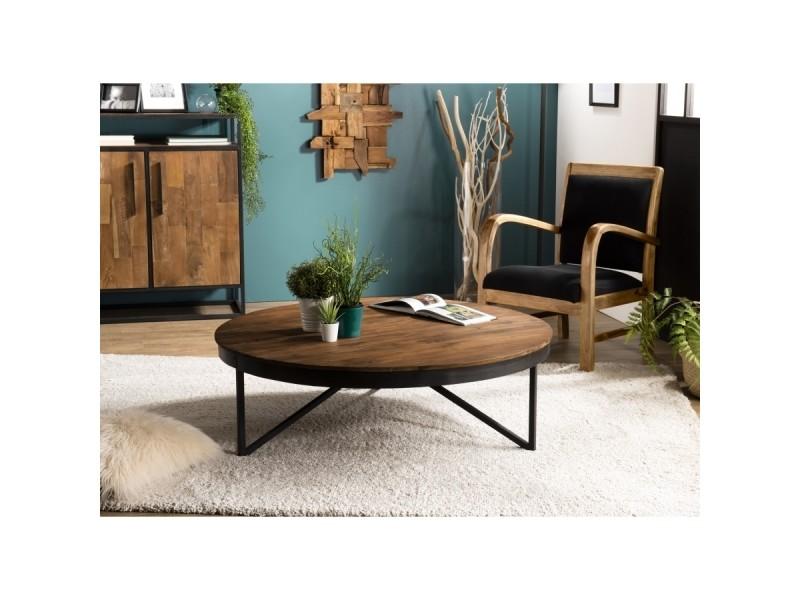 Table basse bois ronde 110x110cm teck recyclé pieds métal