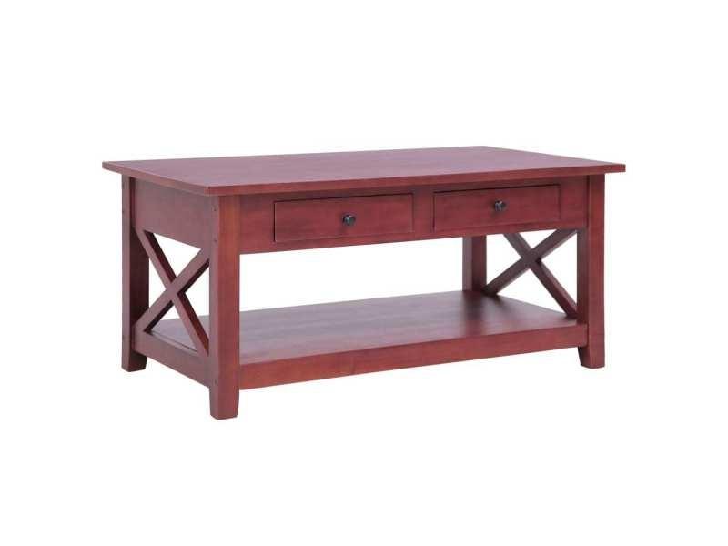Contemporain tables basses et tables d'appoint famille achgabat table basse marron 100x55x46 cm bois d'acajou massif