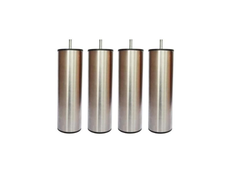 Jeu de pieds cylindriques inox brossé saturne - l 6 x l 6 x h 24,5 cm - lot de 4