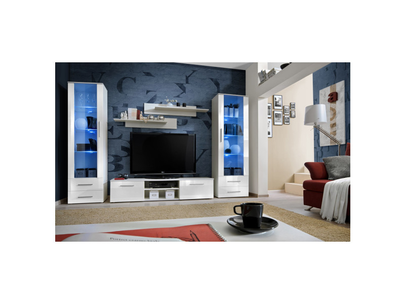 Ensemble meuble tv mural - galino c - 320 cm x 190 cm x 45 cm - blanc