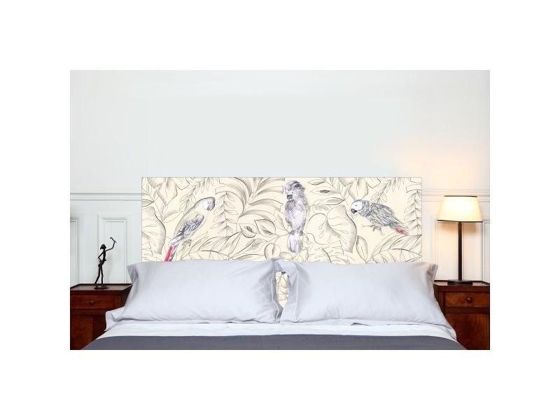 t te de lit en tissu perroquets fixer au mur sans support en bois conforama. Black Bedroom Furniture Sets. Home Design Ideas