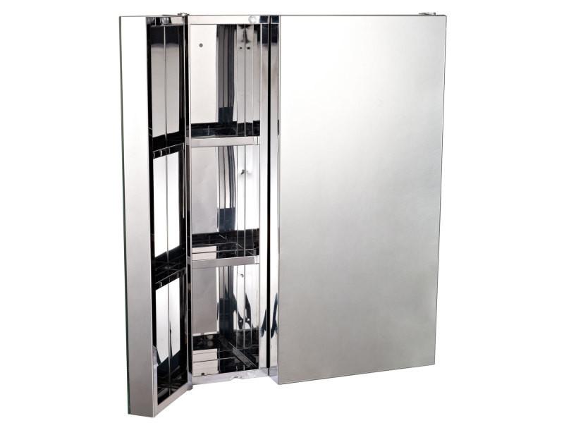 Armoire miroir rangement toilette salle de bain meuble - Miroir salle de bain conforama ...