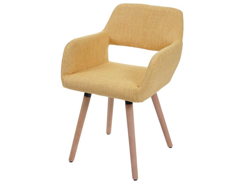Chaise de salle à manger hwc-a50 ii, fauteuil, design rétro des années 50 ~ tissu, jaune