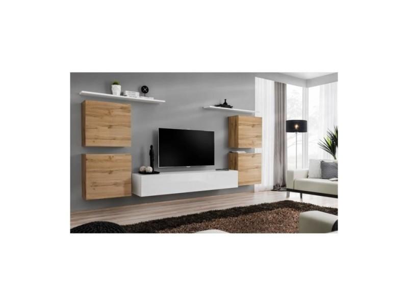 Ensemble meuble salon switch iv design, coloris blanc et chêne wotan.