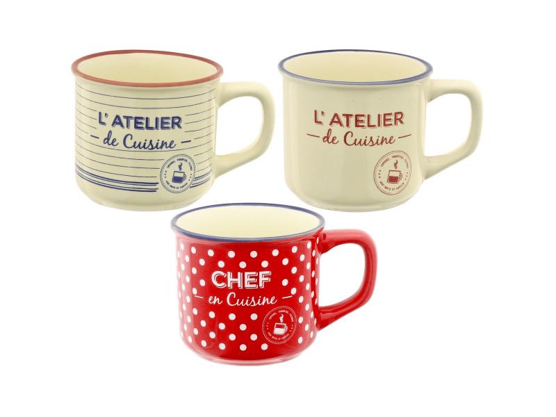 Atelier Vente Promobo Design X De 3 Vintage Mug Conforama Cuisine AcLRj34S5q