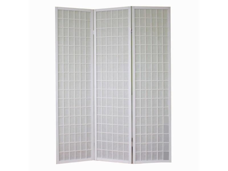 Papier De Riz Décoration paravent 3 panneaux pans en bois blanc et papier riz 175x132cm